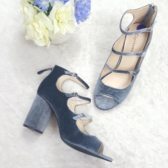 2c1df83827c Trendy Velvet Mary Jane Caged Block Heels 9.5